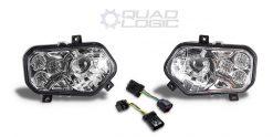 Polaris Scrambler 850 1000, RZR 800 900 Chrome LED Headlights & Adapter Harnesses