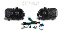 Polaris Scrambler RZR Sportsman Ranger Black LED Headlights w/ Adapter Harnesses