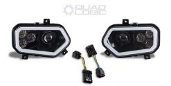 Polaris Scrambler 850 1000 RZR 800 900 BLACK LED w/ HALO Headlights & Adapters