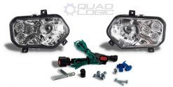 Polaris Scrambler RZR Sportsman Ranger Chrome LED Headlights w/Adapter Harnesses